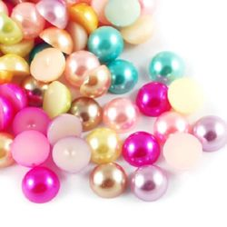Cabochon Pearl Beads, Half Round for Gluing, DIY, Decoration, Scrapbooking, Decoupage 6x3 mm mix -100 pieces