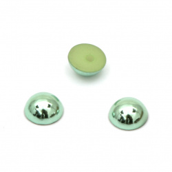 Hot Fix Hemisphere Pearl Beads, Decorations, Clothes, Wedding 6x3 mm hole 1 mm metallize color green - 100 pieces