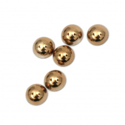 Hot Fix Hemisphere Pearl Beads, Decorations, Clothes, Wedding 6x3 mm hole 1 mm metallize color brown - 100 pieces