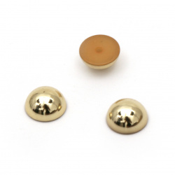 Hot Fix Hemisphere Pearl Beads, Decorations, Clothes, Wedding 8x4 mm hole 1 mm metallic color gold light - 50 pieces