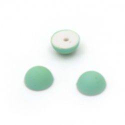 Hot Fix Hemisphere Pearl Beads, Decorations, Clothes, Wedding 8x4 mm hole 1 mm matt green - 50 pieces
