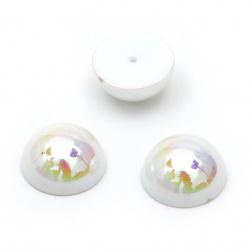 Perla emisferă pentru instalare 8x4 mm orificiu 1 mm culoare arc solid alb - 50 bucăți