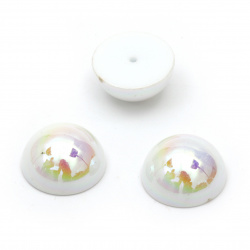 Перла полусфера за вграждане 14x7 мм дупка 1 мм цвят плътна дъга бяла - 20 броя