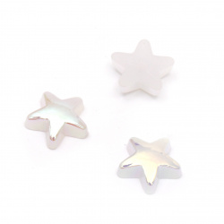 Perla emisferă pentru încorporarea stelei 10x10x3 mm gaură 1 mm culoare alb curcubeu  - 25 bucăți
