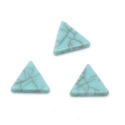 Плочка имитация тюркоаз триъгълник 10x11x2 мм без дупка цвят син - 50 броя
