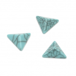 Плочка имитация тюркоаз триъгълник 15x13x5 мм без дупка цвят син - 25 броя