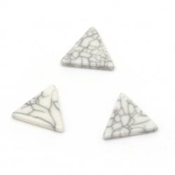 Плочка имитация тюркоаз триъгълник 15x14x2 мм без дупка цвят сив - 25 броя