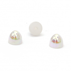 Pearl hemisphere for installation ,Decoracion,Scrapbooking,DIY,6x5 mm hole 1 mm color rainbow white - 50 pieces
