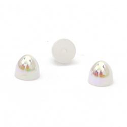 Perla emisferă pentru instalare 6x5 mm gaură 1 mm culoare curcubeu alb - 50 bucăți