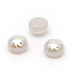 Emisfera perlată pentru instalare 8x6 mm orificiu 1 mm culoare alb - 25 bucăți