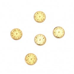Θερμοκολλητικά στρας 6 mm ανάγλυφα χρυσό 100 τεμάχια