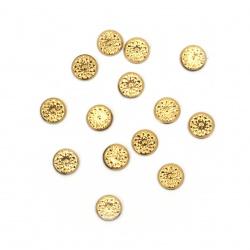 Θερμοκολλητικά στρας 6 mm ανάγλυφα χάλκινο 100 τεμάχια