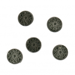 Metal element circle with glue 6 mm embossed color black 100 pieces