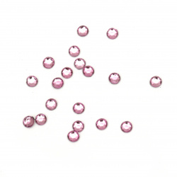 Acrylic stone for gluing 4 mm round pink light transparent faceted -100 pieces