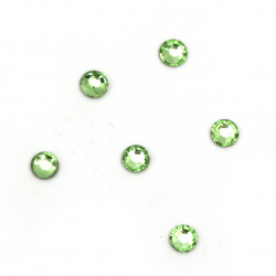 Acrylic stone for gluing 4 mm round green light transparent faceted -100 pieces