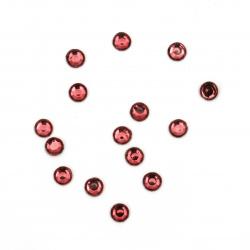 Piatră acrilică pentru lipici de culoare  ciclam rotundă de 4 mm cu fațetă transparentă - 100 bucăți