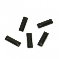Acrylic stone for gluing rectangle 3x10x1.5 mm solid black faceted -100 pieces