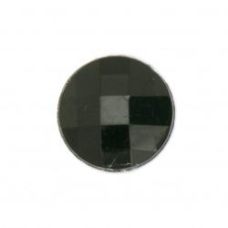 Piatra acrilica pentru lipire cerc 16x4 mm negru solid fatetat -10 bucati
