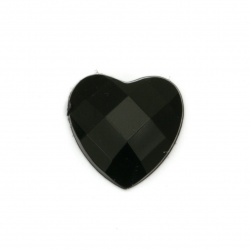Acrylic stone for gluing heart 16x16x4 mm solid black faceted -10 pieces