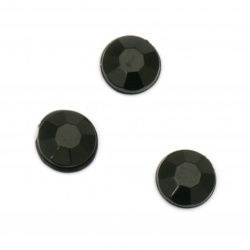 Acrylic stone for gluing circle 7x2 mm solid black faceted -50 pieces