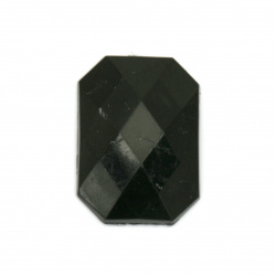 Acrylic stone for gluing rectangle 18x25x5 mm solid black faceted -5 pieces