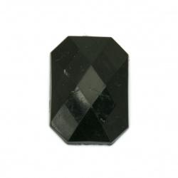 Piatra acrilica pentru lipire dreptunghi 18x25x5 mm negru solid fatetat -5 bucati