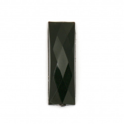 Acrylic stone for gluing rectangle 8x24x4 mm solid black faceted - 10 pieces