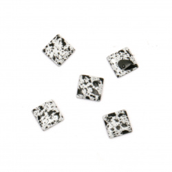 Metal element square with glue 5x5x1 mm color white and black - 100 pieces