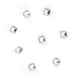 Μεταλλικό θερμοκολλητικό τετράγωνο 3x3x1 mm ασημί - 100 τεμάχια