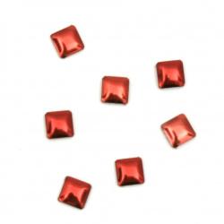 Μεταλλικό θερμοκολλητικό τετράγωνο 3x3x1 mm κόκκινο - 100 τεμάχια