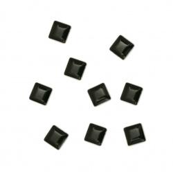 Metal  element square with glue 4x4x1 mm color black - 100 pieces