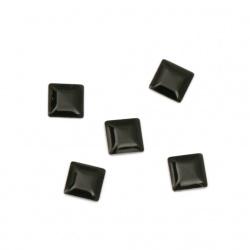 Metal element square with glue 5x5x1 mm color black - 100 pieces