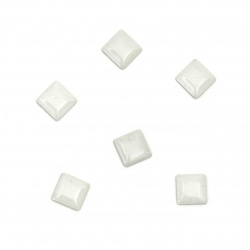 Metal element square with glue 5x5x1 mm color white - 100 pieces