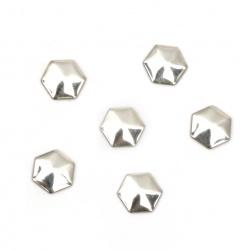Εξάγωνο θερμοκολλητικό μεταλλικό 6x8x1 mm ασημί - 50 τεμάχια