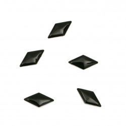 Metal element  rhombus with glue 10x5x1 mm color black - 100 pieces