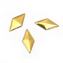 Μεταλλικό θερμοκολλητικό στοιχείο ρόμβου 16x8x1 mm χρυσό - 50 τεμάχια
