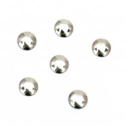 Element rotund metalic cu lipici 6x1 mm culoare argintiu - 100 buc