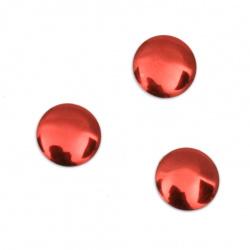 Метален елемент кръг с лепило 8x1 мм цвят червен - 50 броя