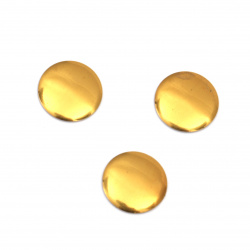 Metal element  circle with glue 10x1 mm gold color - 50 pieces