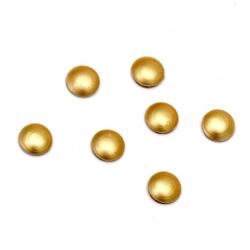 Στρόγγυλα θερμοκολλητικά, μεταλλικά 5x1,5 mm χρυσό ματ - 100 τεμάχια