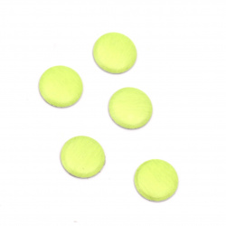 Metal element circle with glue 6x1 mm color neon green - 100 pieces