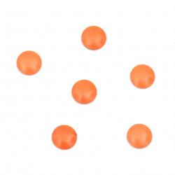 Metal element circle with glue 6x1 mm color neon orange - 100 pieces