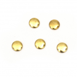Metal  element circle with glue 5.5x1 mm gold color - 50 pieces