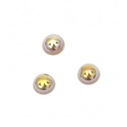 Perla emisferă 4x2 mm culoare maron curcubeu -250 bucăți