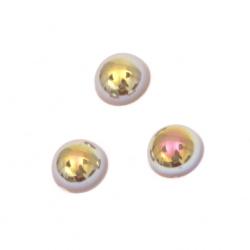 Perla emisferă 8x4 mm culoare maro curcubeu -100 bucăți