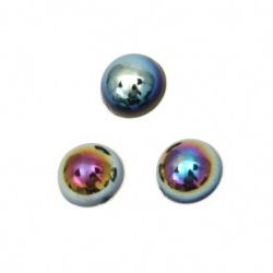 Перла полусфера 8x4 мм цвят черен дъга -100 броя