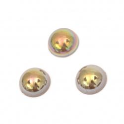 Перла полусфера 10x5 мм цвят кафяв дъга -50 броя