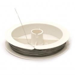 Ατσαλόσυρμα/ ντίζα 0,50 mm ασήμι ~ 22 μέτρα/ καρούλι