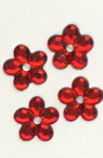 Acrylic stone for gluing flower 11x2 mm red -20 pieces