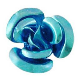 Blue Aluminum Roses for gluing 10 x 6.5 mm